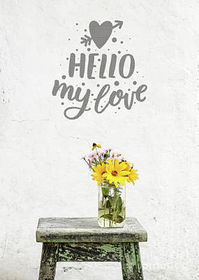 Print featuring the photograph Hello My Love Card by Edward Fielding