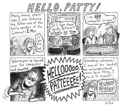 Computer Drawing - Hello Patty by Roz Chast