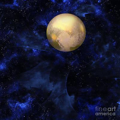 Art Print featuring the digital art Hello Pluto by Klara Acel