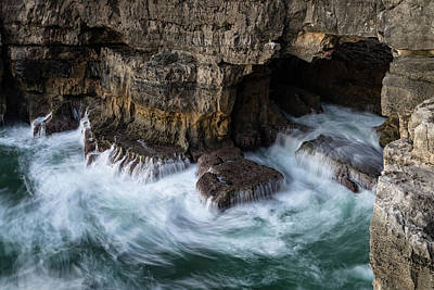 Photograph - Hells Mouth - Boca Do Inferno - Seacliff Chasm At Cascais Portugal by Georgia Mizuleva