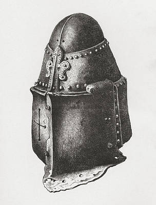 Pi Drawing - Helmet C. 1350, Similar To That Of The by Vintage Design Pics