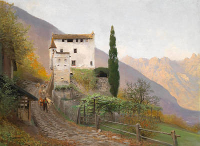 Robert Plant Framed Painting - Helmstorf South Tyrol On A Spring Day by Anton Robert Leinweber