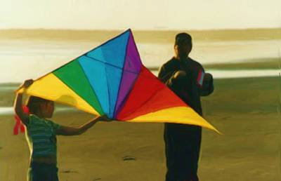 Kids Flying Kite Painting - Help Me Fly by Shelley Bain
