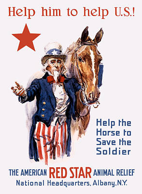 Uncle Sam Painting - Help The Horse To Save The Soldier by War Is Hell Store