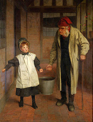 Painting - Helping Grandpa by James Hayllar