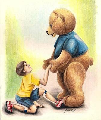 Brown Bear Drawing - Helping Hand by Scarlett Royal