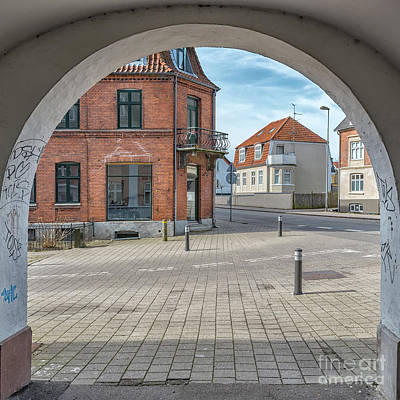 Color Block Photograph - Helsingor Old Building Through Archway by Antony McAulay