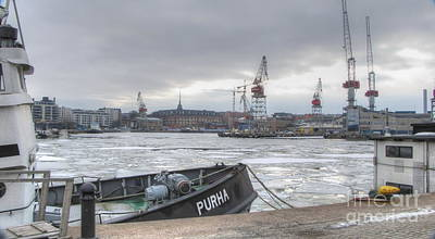 Pyrography -  Helsinki  Port   Finland by Yury Bashkin