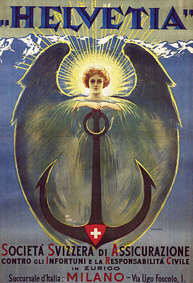 Swiss Drawing - Helvetia Poster by Umberto Boccioni