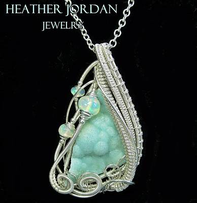 Sterling Silver Jewelry - Hemimorphite Druzy Wire-wrapped In Sterling Silver With Ethiopian Welo Opals Hmphpss2 by Heather Jordan