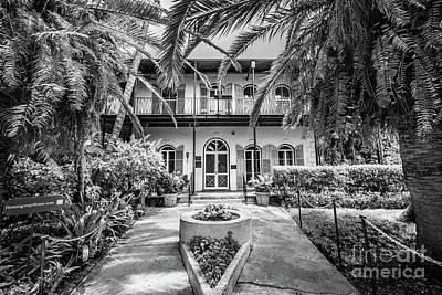 Hemingway House Wall Art - Photograph - Hemingway House Entrance, Key West, Blk Wht by Liesl Walsh