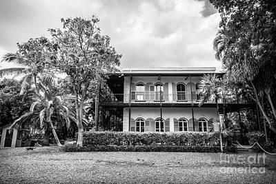 Hemingway House Wall Art - Photograph - Hemingway House, Key West, Florida, Blk Wht by Liesl Walsh