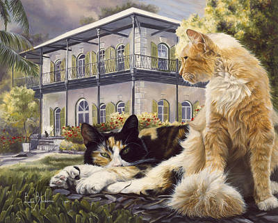 Calico Cat Painting - Hemingway House by Lucie Bilodeau