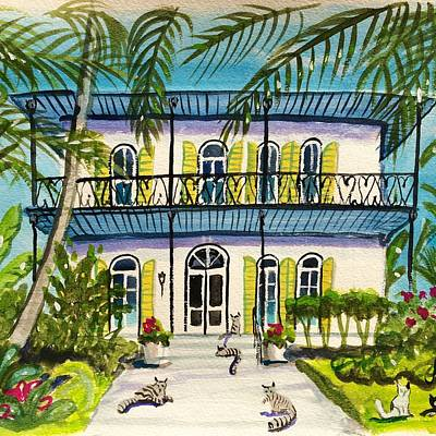 Tropical Houses Wall Art - Painting - Hemingway's Home Key West by Maggii Sarfaty