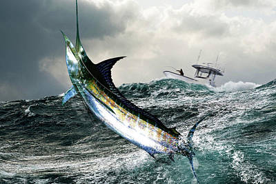 Blue Marlin Mixed Media - Hemingway's Marlin, The Old Man And The Sea, Fish On by Thomas Pollart