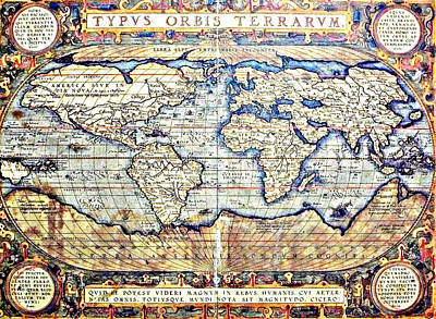 Painting - Hemisphere World  by Ancient Map