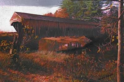 Tourist Attraction Digital Art - Hemlock Covered Bridge by Rusty Smith