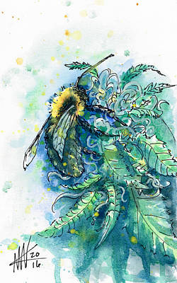 Painting - Hemp Flower Honey Bee by Ashley Kujan