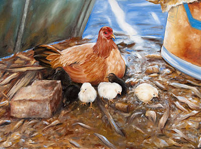 Hen And Biddies Art Print by Rick McKinney