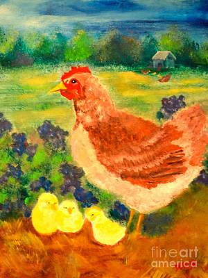 Painting - Hen And Chick by Denise Tomasura
