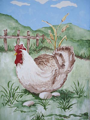 Painting - Hen And Eggs by Leslie Manley