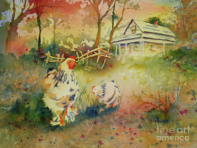 Hen And Rooster Art Print by Mary Haley-Rocks