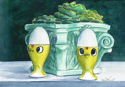 Painting - Hen Chicks And Eggs by Jane Loveall