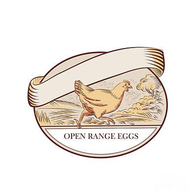 Hen Running Open Range Eggs Oval Drawing Art Print by Aloysius Patrimonio