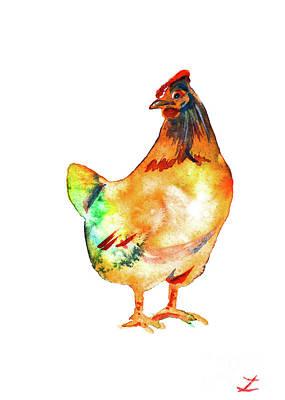 Painting - Hen by Zaira Dzhaubaeva