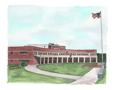 Military Base Painting - Henderson Hall, Marine Corps Headquarters by Elizabeth Hackett