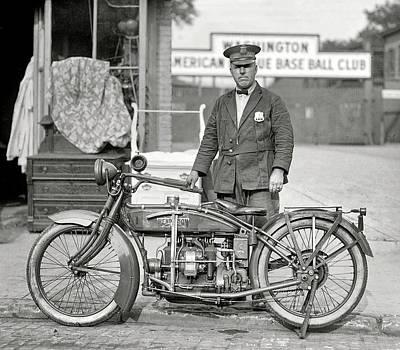 Henderson Motorcycle Cop - Washington D. C.  1922 Art Print by Daniel Hagerman