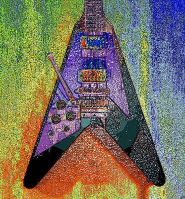 1969 Digital Art - Hendrix Flying V by David Lee Thompson