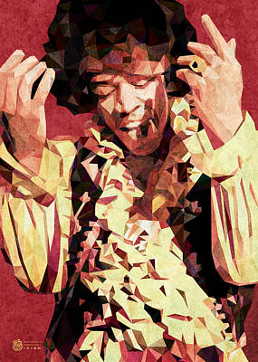 Digital Art - Hendrix Low Poly by Flavio Lisi