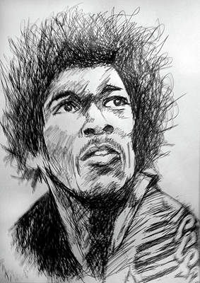 Hendrix Pen Drawing  Original