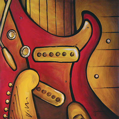 Hendrix - Strat Abstract Original by Kathy Jackson