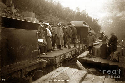 Photograph - Heney Station Sept. 25 1898 Men And Women On A Flat Car White Pass And Yukon Route Railroad Alaska by California Views Archives Mr Pat Hathaway Archives