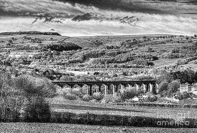 Photograph - Hengoed Viaduct 2 Monochrome by Steve Purnell