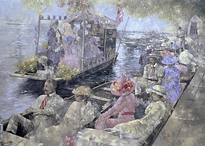 Tree Leaf On Water Painting - Henley Regatta by Peter Miller