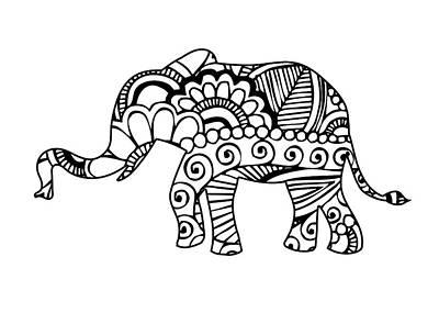 India Ink Wall Art - Digital Art - Henna Elephant 1 by Ricky Barnard