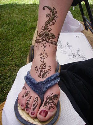 Drawing - Henna Foot by An Array of Artistry