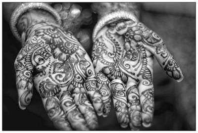Henna Hands Black And White Art Print
