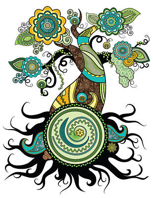 Digital Art - Henna Tree Of Life by Serena King