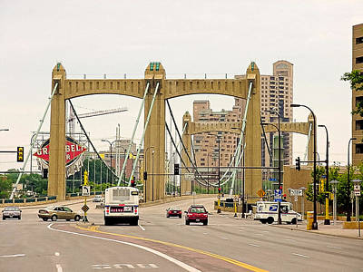 Photograph - Hennepin Avenue Bridge-circa 2002 by Robert Meyers-Lussier