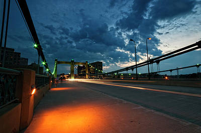 Photograph - Hennepin Bridge At Night - Minneapolis, Mn by Kevin Pate