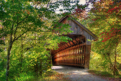 Photograph - Henniker Covered Bridge - Autumn In New Hampshire by Joann Vitali