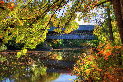 Photograph - Henniker Covered Bridge In Autumn - New Hampshire by Joann Vitali