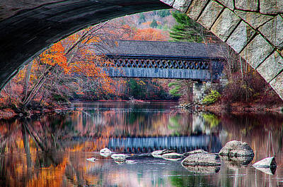 Photograph - Henniker Covered Bridge Late Autumn by Jeff Folger