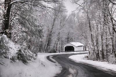 Snowy Digital Art - Henningers Farm Covered Bridge by Lori Deiter