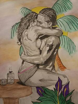 Beach Sunset Drawing - Henny Love  by Lavonda Johnson