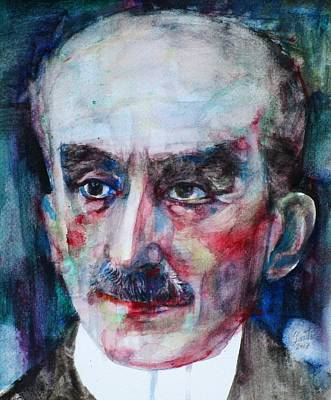 Painting - Henri Bergson - Watercolor Portrait.2 by Fabrizio Cassetta